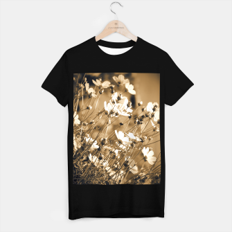 Miniatur Dreamy, sepia colors wild meadow flowers photography T-shirt regular, Live Heroes