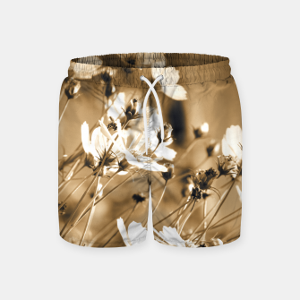 Miniatur Dreamy, sepia colors wild meadow flowers photography Swim Shorts, Live Heroes