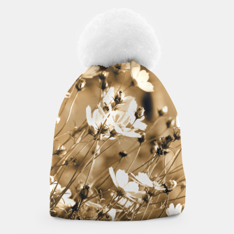 Miniatur Dreamy, sepia colors wild meadow flowers photography Beanie, Live Heroes