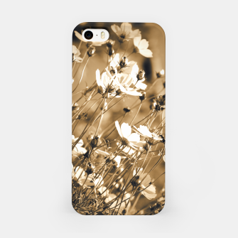Miniatur Dreamy, sepia colors wild meadow flowers photography iPhone Case, Live Heroes
