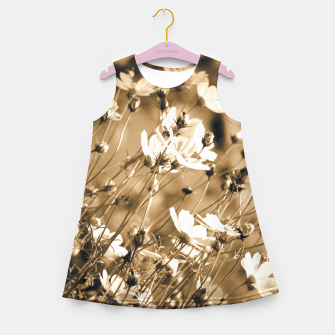 Miniatur Dreamy, sepia colors wild meadow flowers photography Girl's summer dress, Live Heroes