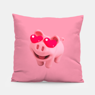 Rosa Heart Eyes Pink Pillow thumbnail image