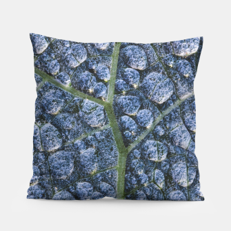 Thumbnail image of Cool water drops dew texture leaf Pillow, Live Heroes