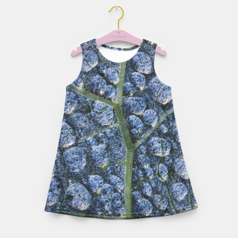 Thumbnail image of Cool water drops dew texture leaf Girl's summer dress, Live Heroes