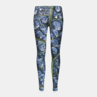 Thumbnail image of Cool water drops dew texture leaf Girl's leggings, Live Heroes