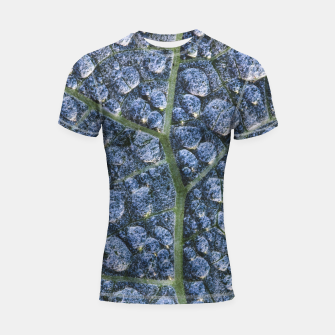 Thumbnail image of Cool water drops dew texture leaf Shortsleeve rashguard, Live Heroes