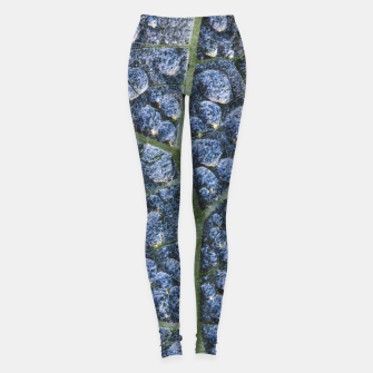 Thumbnail image of Cool water drops dew texture leaf Leggings, Live Heroes