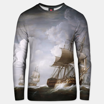 Thumbnail image of A Fleet Of East Indiamen At Sea by Nicholas Pocock Unisex sweater, Live Heroes