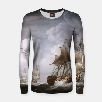 Thumbnail image of A Fleet Of East Indiamen At Sea by Nicholas Pocock Women sweater, Live Heroes