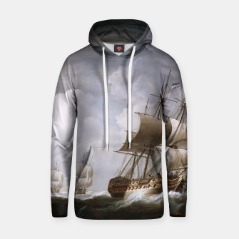 Thumbnail image of A Fleet Of East Indiamen At Sea by Nicholas Pocock Hoodie, Live Heroes
