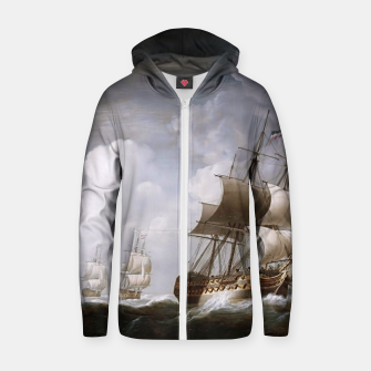 Thumbnail image of A Fleet Of East Indiamen At Sea by Nicholas Pocock Zip up hoodie, Live Heroes