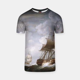 Thumbnail image of A Fleet Of East Indiamen At Sea by Nicholas Pocock T-shirt, Live Heroes
