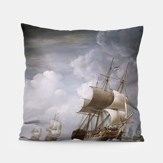 Thumbnail image of A Fleet Of East Indiamen At Sea by Nicholas Pocock Pillow, Live Heroes