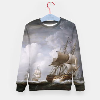 Thumbnail image of A Fleet Of East Indiamen At Sea by Nicholas Pocock Kid's sweater, Live Heroes