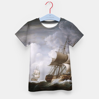 Thumbnail image of A Fleet Of East Indiamen At Sea by Nicholas Pocock Kid's t-shirt, Live Heroes
