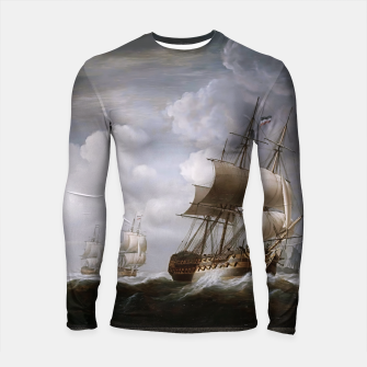 Miniaturka A Fleet Of East Indiamen At Sea by Nicholas Pocock Longsleeve rashguard , Live Heroes