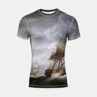 Imagen en miniatura de A Fleet Of East Indiamen At Sea by Nicholas Pocock Shortsleeve rashguard, Live Heroes