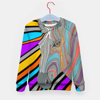 Thumbnail image of Psychedelic Zebra Kid's sweater, Live Heroes