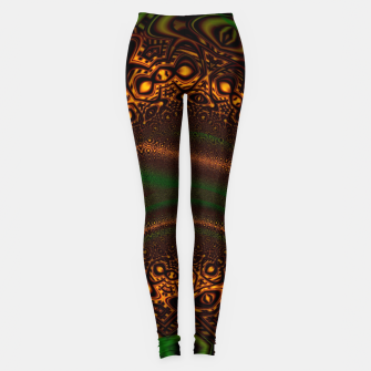 Thumbnail image of Emerald Gold Vortex Mapping Abstract Digital Art Leggings, Live Heroes