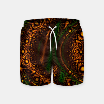 Thumbnail image of Emerald Gold Vortex Mapping Abstract Digital Art Swim Shorts RL90, Live Heroes
