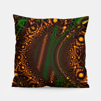 Thumbnail image of Emerald Gold Vortex Mapping Abstract Digital Art Pillow RL90, Live Heroes