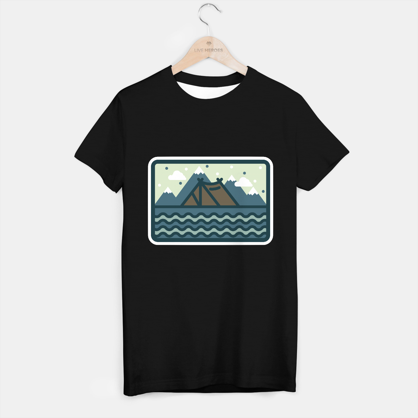 Foto Camp Mountain Beach T-shirt regular - Live Heroes