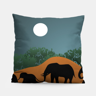 Miniatur Elephant Family Illustration Pillow, Live Heroes