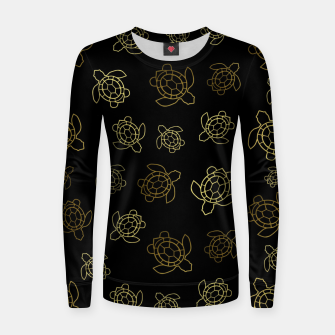 Thumbnail image of Gold Turtles On Black Women sweater, Live Heroes