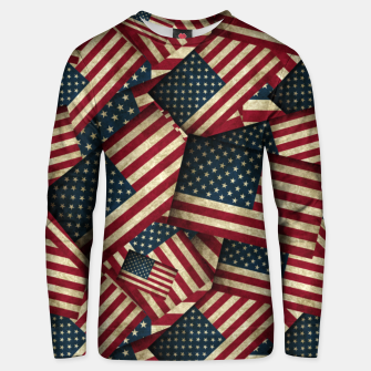 Thumbnail image of Patriotic Grunge-Style USA American Flags Unisex sweater, Live Heroes