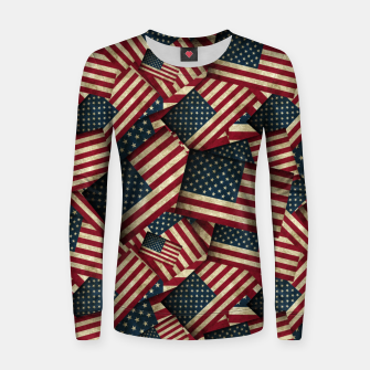 Thumbnail image of Patriotic Grunge-Style USA American Flags Women sweater, Live Heroes