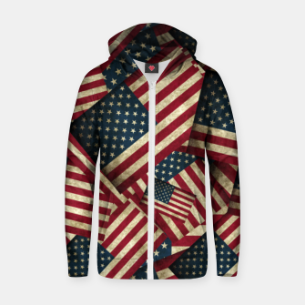 Thumbnail image of Patriotic Grunge-Style USA American Flags Zip up hoodie, Live Heroes