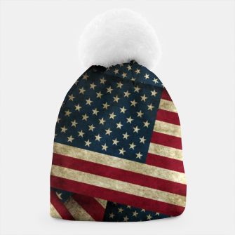 Thumbnail image of Patriotic Grunge-Style USA American Flags Beanie, Live Heroes
