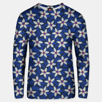 Thumbnail image of White flower stars in cyan mist Unisex sweater, Live Heroes
