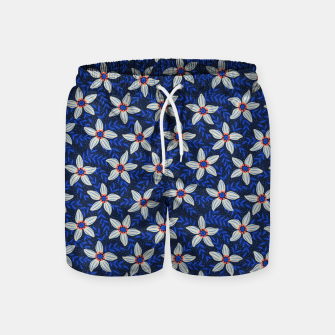 Thumbnail image of White flower stars in cyan mist Swim Shorts, Live Heroes