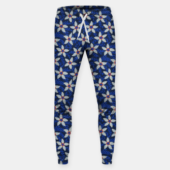 Thumbnail image of White flower stars in cyan mist Sweatpants, Live Heroes