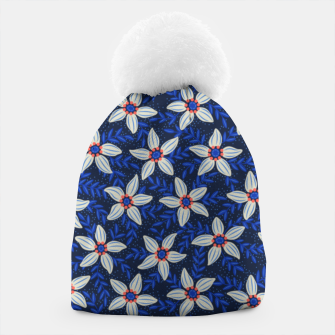 Thumbnail image of White flower stars in cyan mist Beanie, Live Heroes