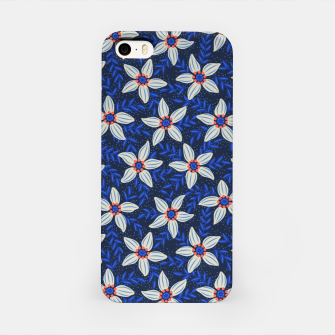 Thumbnail image of White flower stars in cyan mist iPhone Case, Live Heroes