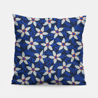 Thumbnail image of White flower stars in cyan mist Pillow, Live Heroes