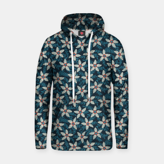 White flower stars in teal blue mist Hoodie thumbnail image