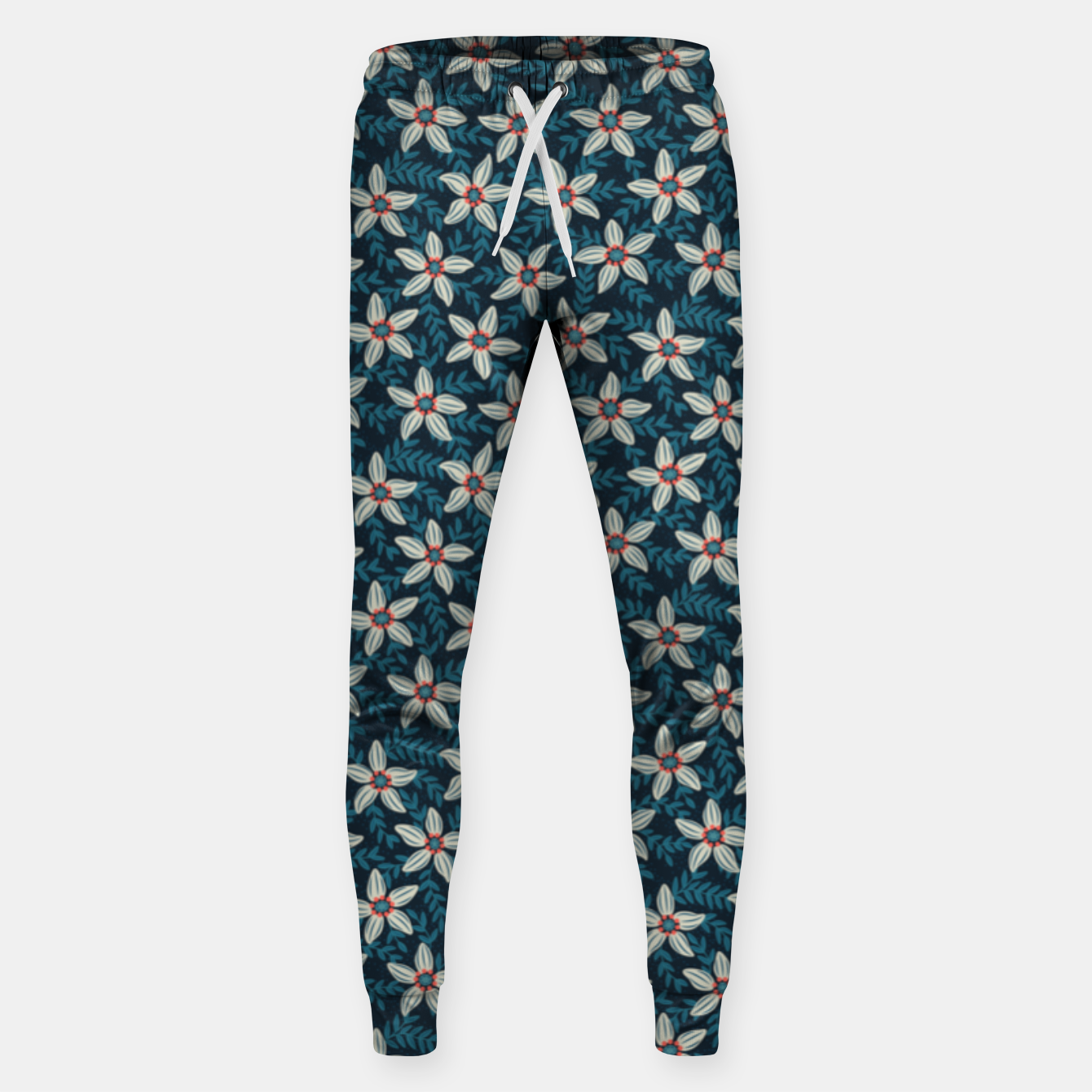 Image of White flower stars in teal blue mist Sweatpants - Live Heroes