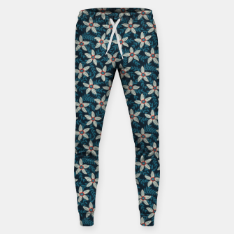 White flower stars in teal blue mist Sweatpants thumbnail image