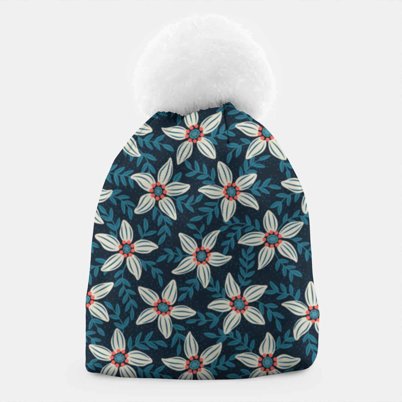 Image of White flower stars in teal blue mist Beanie - Live Heroes