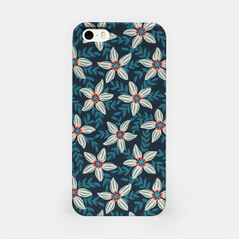 White flower stars in teal blue mist iPhone Case thumbnail image