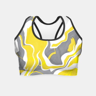 Thumbnail image of Marbled yellow and gray 67 Crop Top, Live Heroes