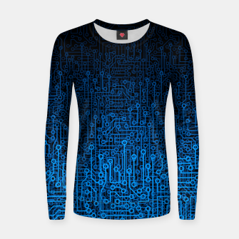 Thumbnail image of Reboot III BLUE Computer Circuit Board Pattern Women sweater, Live Heroes
