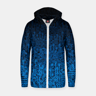 Thumbnail image of Reboot III BLUE Computer Circuit Board Pattern Zip up hoodie, Live Heroes
