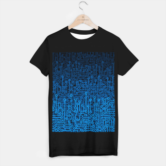 Thumbnail image of Reboot III BLUE Computer Circuit Board Pattern T-shirt regular, Live Heroes