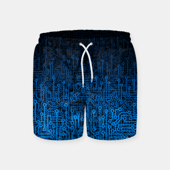 Thumbnail image of Reboot III BLUE Computer Circuit Board Pattern Swim Shorts, Live Heroes