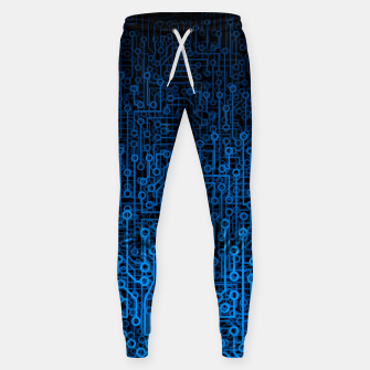 Thumbnail image of Reboot III BLUE Computer Circuit Board Pattern Sweatpants, Live Heroes