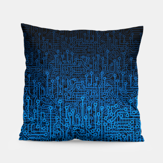 Thumbnail image of Reboot III BLUE Computer Circuit Board Pattern Pillow, Live Heroes